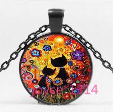 Flower Black Cat Cabochon black Glass Chain Pendant Necklace HS-5733