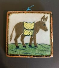 Hand-Painted Ceramic Tile of a Donkey Burro Mule