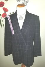 Valerie Stevens Womens 8 Pure Wool Black Plaid Double Breast Blazer Jacket lined