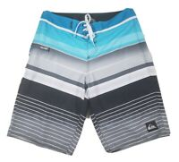 Quicksilver Mens Boardshorts Size 30 Blue Gray Striped Swim Trunks