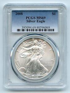 2008 $1 American Silver Eagle 1oz Dollar PCGS MS69