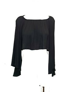 Black Off the Shoulder Cropped Bell Sleeve Top Blouse One Size Boho Hippie Rayon