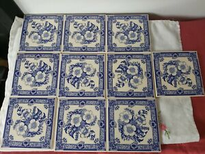 10 x Vintage H & R Johnson Blue & White ceramic Flower Print TILES Unused