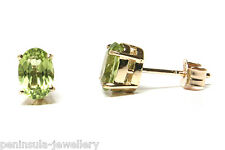 9ct Gold Peridot Oval Stud Earrings Gift Boxed Studs Made in UK