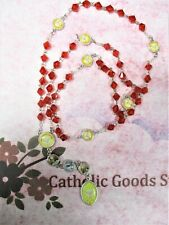 Holy Spirit Chaplet -(8 mm red Bi-Cone glass crystal bead)