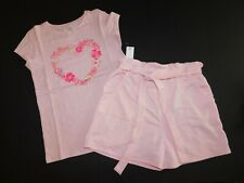 NWT GAP & Monteau Girl's 2 Pc Set Pink Floral Heart T-Shirt/Shorts Large New