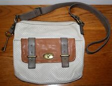 Fossil Maddox Flap Off White Zip Top Leather Crossbody Handbag w/ big key fob