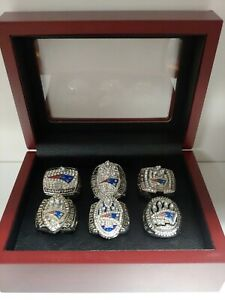 Tom Brady - New England Patriots 6 Super Bowl Ring Set With Wooden Display Box
