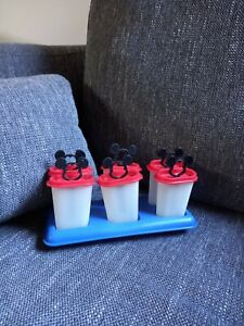 TUPPERWARE Disney Mickey Mouse Ice Block Moulds Holders Red Black Blue Vintage!