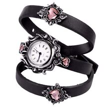 Alchemy Gothic Heartfelt Pink Crystal Sacred Heart Black Leather Wrap Watch AW24