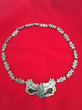 VINTAGE TAXCO MEXICO STERLING SILVER NECKLACE TT -13. MAKER - INLAID TURQUOISE