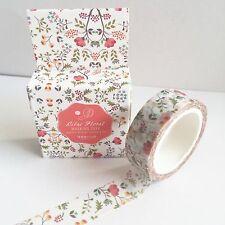7m 15mm Blanco Floral Pretty Washi Cinta-Papelería Tarjetas envolver japonés