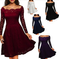 Women's Vintage Lace Boat Neck Formal Wedding Cocktail'Evening Party Swing Dress