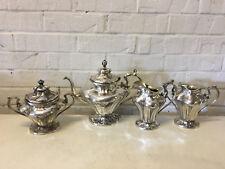 Art Nouveau Design Silver Plated 4 Piece Tea Set