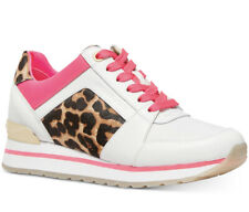 NIB Size 6.5 Michael Kors  Billie Trainer Sneakers Shoes White Pink Cheetah
