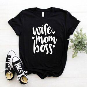 Wife, Mom, Boss || Funny Femme Mom Crewneck Unisex 100%Pre-Shrunk Cotton Tshirt