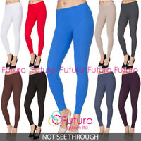 Full Length Cotton Plain Leggings Womens Yoga Gym Pants Slim 8-28 UK Plus Size