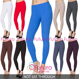 Full Length Cotton Plain Leggings Womens Yoga Gym Pants Slim 8-28 UK Plus Size