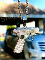 Men's Women 14k WHITE Finish Pistol Gun Pendant Rope Chain Every Day wear