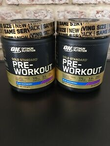 Optimum Nutrition Gold Standard Pre Workout Energy Powder Drink X2 blue ras