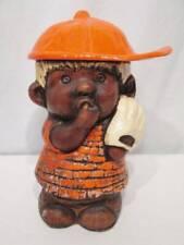 Vintage Cookie Jar Treasure Craft Usa Baseball Player Boy Black Americana Orange