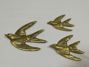 Preowned Vintage Set Of 3 Brass Flying Swallows With Mounting Hooks