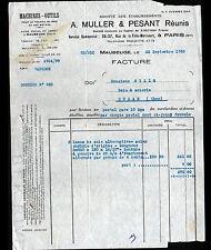 """MAUBEUGE (59) USINE de MACHINES-OUTILS MACHINES à BOIS """"A. MULLER & PESANT"""" 1933"""