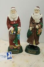 Grandeur Noel Set of 2 Porcelain Santa Statues