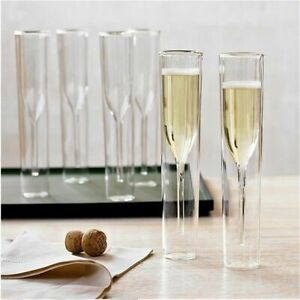 Champagne Prosecco Flutes Double Wall Glass Sparkling Wine Tall Tulip Glasses