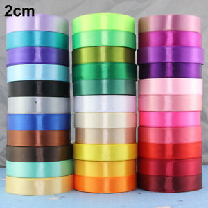 1/2/4/5/8cm Wide 25Yard Silk Satin Ribbon Wedding Party Package Gift Decor Solid