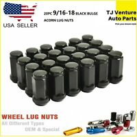 "Lug Nuts Bulge Acorn 9//16/"" Ford Dodge Black 1.9 Long 50Pc"