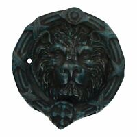Lion Head Face Door Knocker Bell Ringer Striker Cast Iron Round Circle