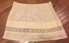 Billabong Women Skirt 3 Cream Lined Zipper Brown