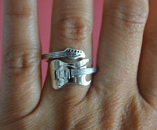 925 Sterling Silver Adjustable Rock Star Guitar Ring - Electric Guitar Ring Band