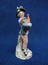 Meissen Statue Boy holding a Rooster 19th century soft tones, nice quality 1860