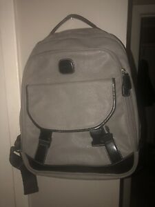 Gorgeous Bric's Gray Leather Backpack EUC