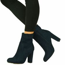 Womens Faux Suede Chunky High Block Heel BOOTS Ankle Side Zip Closed Toe Shoes Navy UK 6