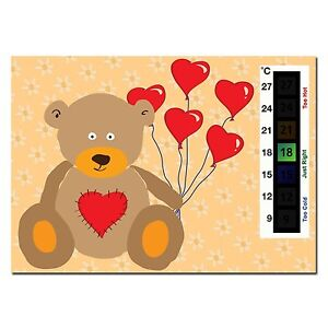 Baby Teddy Bear & Heart Balloons Nursery Room Safety Temperature Thermometer