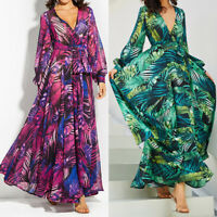 Women Boho Floral Long Sleeve Maxi Dress Beach Vintage V Neck Belt Tunic Dresses