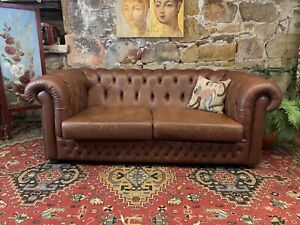 Vintage Chesterfield Leather 2+ Seater Lounge Chair~Sofa~England~Brown