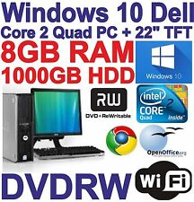 "COMPLETO di Windows 10 dell core 2 QUAD Gaming PC Computer - 8GB RAM - 1000GB - 22"" TFT"