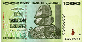 NEW UNCIRCULATED ZIMBABWE 10 TRILLION DOLLAR NOTE AA PREFIX UNC