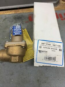 "Watts Safety Relief Valve 3/4"" NPT Model: M No: 174A Set @ 125lb."