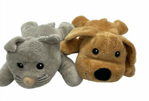 Melissa & Doug Plush Stuffed Brown Dog and Grey Cat 9 inches Lot Of 2 Toys