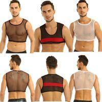 Men Mesh See-through Muscle Gym Tank Crop Tops Chest Harness Clubwear Half Vest