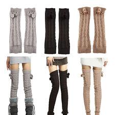 Women Winter Crochet Knit Stocking Footless Leg Warm Boot Thigh High Socks L2