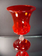 Venini ? Venetian Glass Hand Blown Ruby Red Paneled Urn Zecchin Cappellin Italy