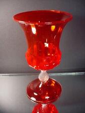 Venini ? Venetian Glass Hand Blown Ruby Red Paneled Urn Zecchin Cappellin Italy