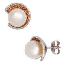 Brillantschliff Echtschmuck im Ohrstecker-Stil mit Perle