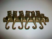 Solid Brass Metal Wall Hooks with Cats for keys, misc.